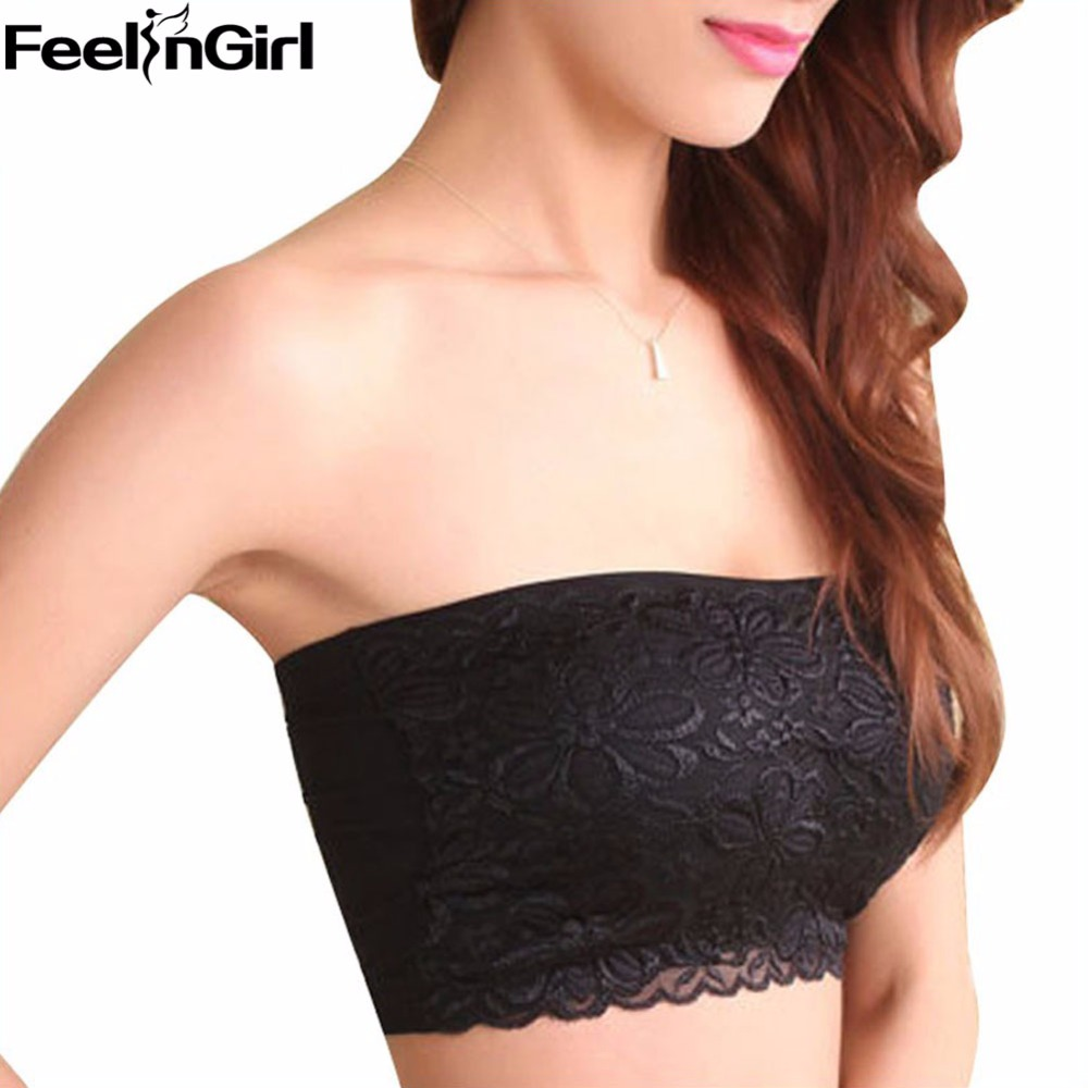 Factory Price Lace Tube Tops Women Summer Strapless Bandeau Top Sexy Padded Crop Top Black Beige Lace Bra Top -B5