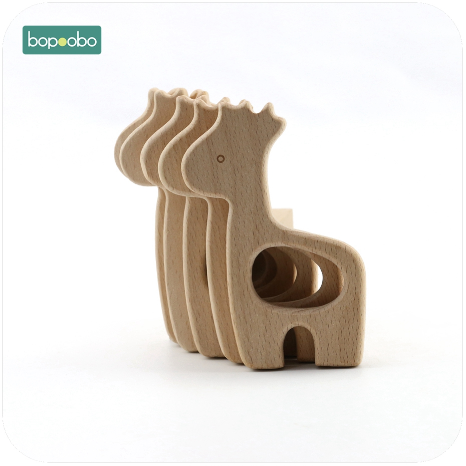 Bopoobo DIY Jewelry Accessories 1pc Beech Wooden Giraffe Sensory Chewing Toy Baby Nursing Teething Necklace Pendant Baby Teether