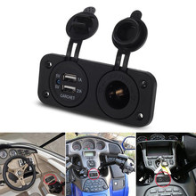 Dual USB Socket Splitter Car Electronic Cigarette Lighter USB 12V 2.1A 1A Charger Motorcycle USB Power Adapter Outlet Plug(China)