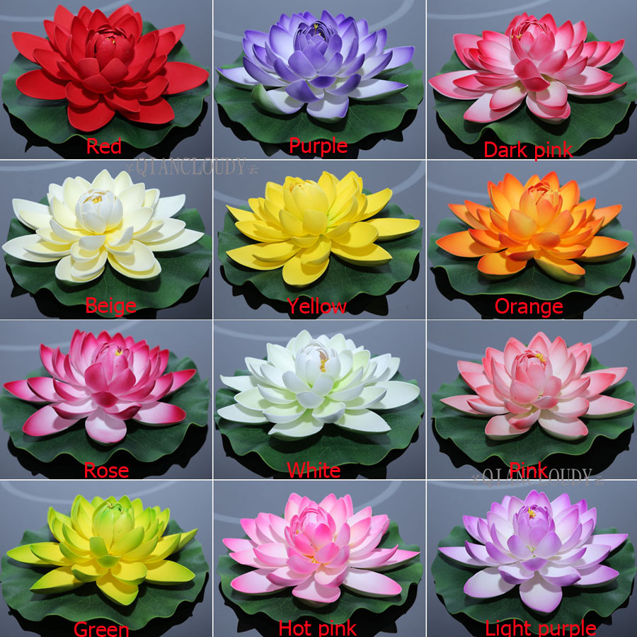 2019 Fake Lotus Artificial White Fake Lotus Leaf Lily Flowers Water