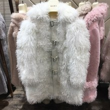 2018 new and fashion women real mongolian sheep fur coat long white luxury genuine lamb fur thick warm outwear coat and jackets