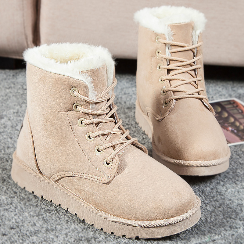 Faux suede shoes platform boots 2017 fashion lace-up snow boots solid warm shoes ankle winter boot women waterproof shoes