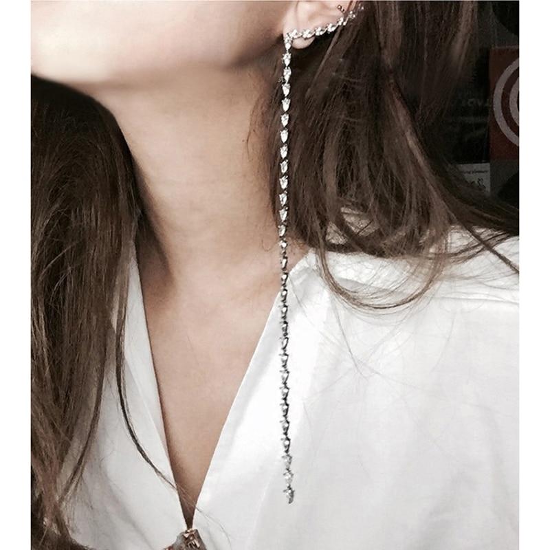 SRCOI AAA Cubic Zirconia Long Clip-Earrings-Without-Piercing Asymmetric Ear Cuff Long Statement Earrings Womens Accessaries