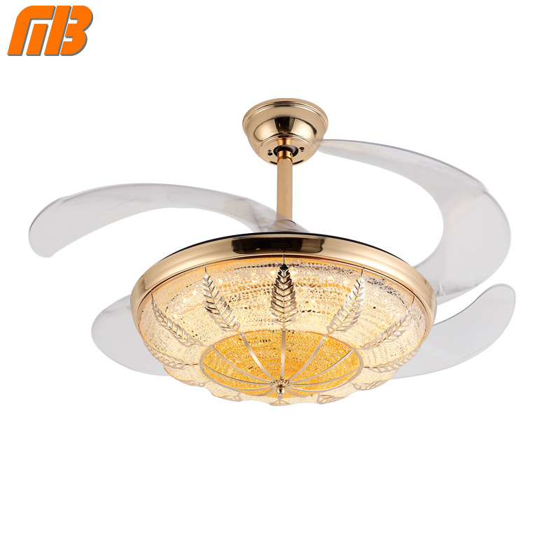[MingBen] Modern Led Lamp Crystal <font><b>Chandelier</b></font> Fan Lights Dining Living Room Minimalist Restaurant Home Fan With Remote Control