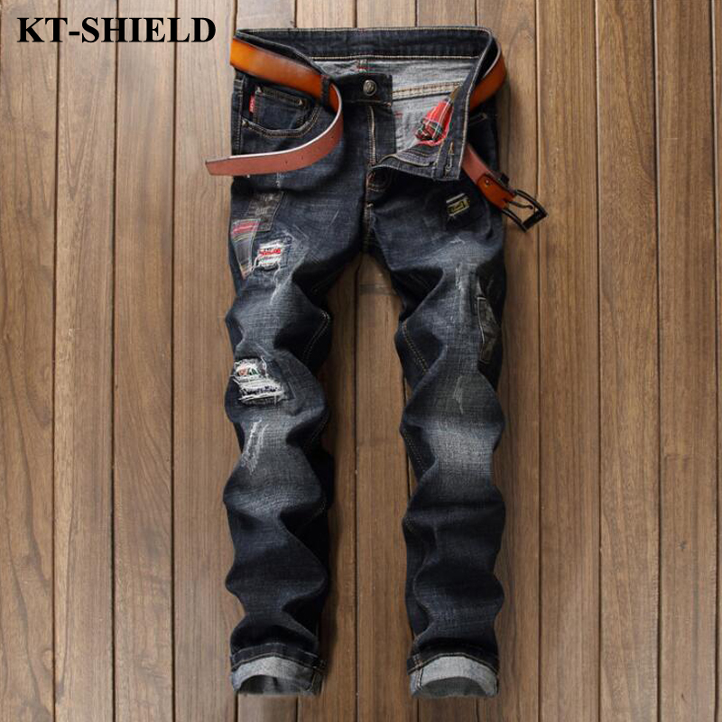 Luxury mens brand jeans new fashion black cotton denim pants Men Vaqueros hombre biker distressed ripped