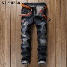 Роскошные мужские джинсы марка новая мода черный хлопок джинсовые брюки Мужчины Вакеро hombre байкер проблемных разорвал жан брюки высокое качество