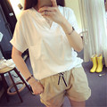 2016 V-neck white short-sleeved T-shirt big yards loose wild shirt hedging  for woman CJ279