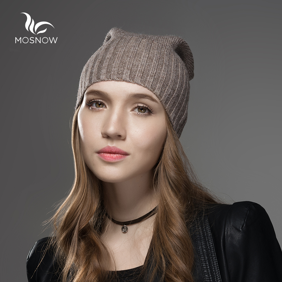 Mosnow New Wool Solid Winter Hat For Women Mens