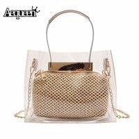 Aequeen женская прозрачная сумка из ПВХ, Модные прозрачные женские сумки на плечо, женская Соломенная Сумка, пляжная сумка на цепочке, сумки-мес...