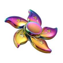 มาใหม่เรนโบว์B Auhiniaดอกไม้ดาวโลหะอยู่ไม่สุขปั่นมือนิ้วGyro EDCโฟกัสของเล่นTri-ปั่นของเล่นความเครียดของขวัญ