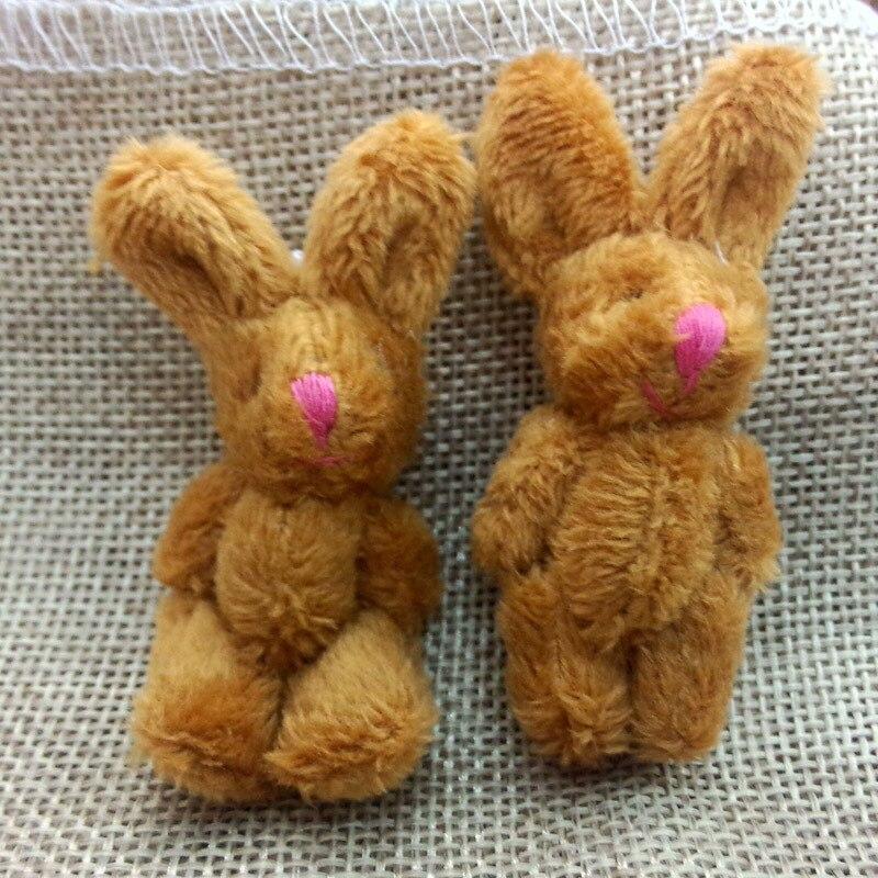 10pc 3 colors  Soft Mini Joint Rabbit Pendant Plush Bunny For Key Chain Bouquet