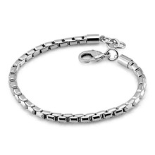 New fashion punk style sterling silver bracelet. 100% solid 925 4mm20cm smooth bracelet for men/boys. Hip hop accessories