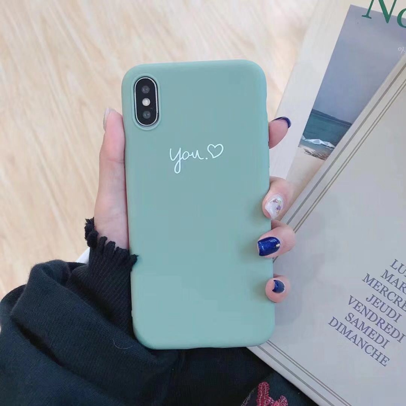Cute Matcha green Couple Letter Me you Case For iPhone XS MAX XR X Case Soft Candy Phone Case For iPhone 7 8 6 S 6s plus cover0