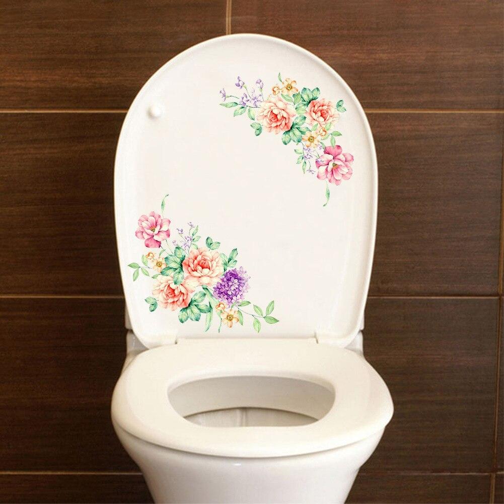 Красивый цветок Туалет стикер Art плакат Мода Home Decor Розовый пион стены наклейки ванная комната украшения