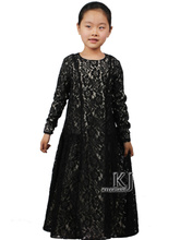New Family Fitted Lace Abaya For Children Traditional Islamic Clothing Muslim Dress Girls Maxi Long Jilbabs Abaya in Dubai