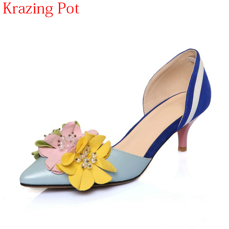 2018 Superstar Brand Genuine Leather Shallow Thin High Heels Crystal Flowers Slip on Women Pumps Pointed Toe Wedding Shoes L1f3 new arrival genuine leather pointed toe high heels stiletto shallow metal buckle pumps slip on women brand wedding shoes l8f3