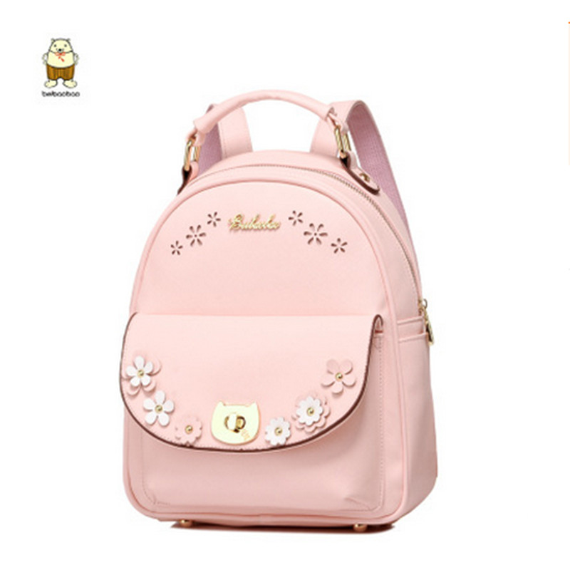 Hollow pink cute backpack lady fashion leather school bag teenage girl elegant student pack mochila female rivet shoulder bag vans wm realm backpack pink lady ph