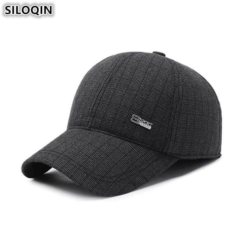 SILOQIN Adjustable Size New Winter Men's Hats Woolen Warm Baseball Caps With Ears Brands Snapback Cap Earmuffs Hat For Men