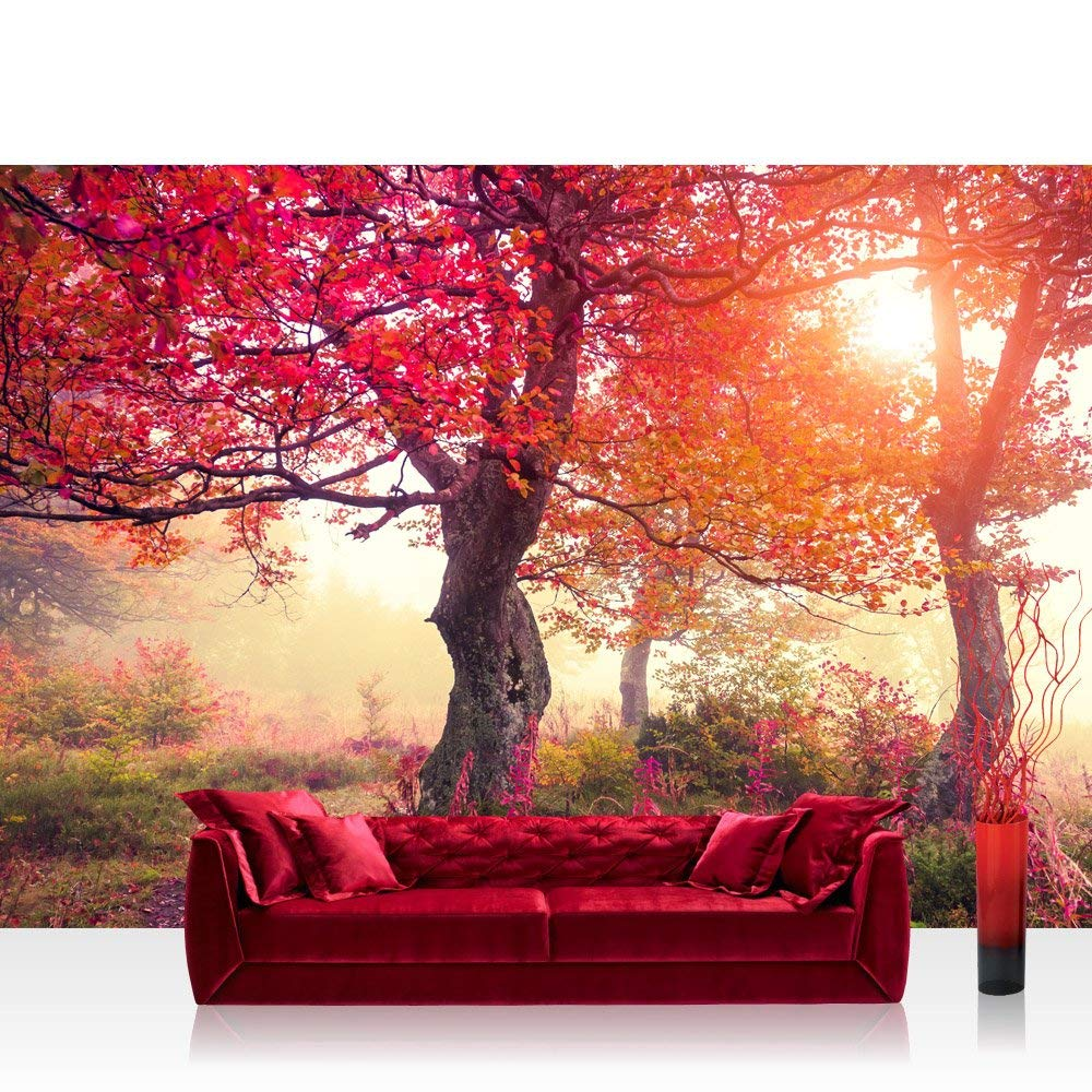 Custom Wallpaper Murals Large Wall Autumn Red Trees Wall ...