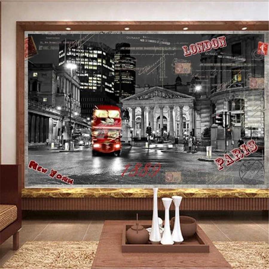 Custom wallpaper 3d mural London street view england tower bridge red bus continental pier harbor sailing scenery 3d wallpaper