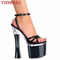 7 Inch Open Toe Summer Hand Made Women Motorcycle Sandals 18cm Strappy Pole Dance Shoes Platform