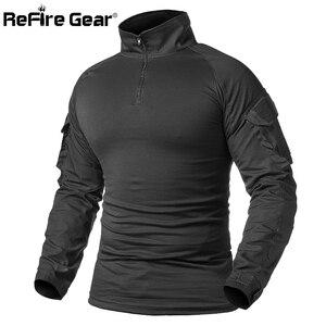 Image 5 - ReFire GearกองทัพCombat Tเสื้อผู้ชายแขนยาวยุทธวิธีเสื้อยืดผ้าฝ้ายทหารเสื้อMan Navy Blue Hunt Airsoft Tเสื้อ