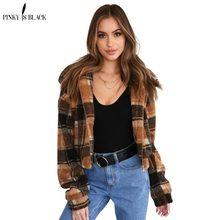 PinkyIsblack femmes manteau de fourrure de mode vintage plaid faux fourrure  veste manteau femelle poche en peluche chaud plaid p. 3e56d4afd0c