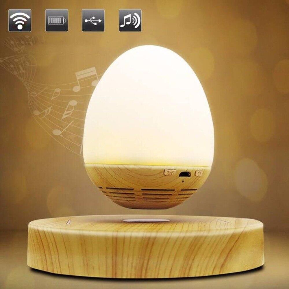 LESHP Multi-fonctionnelle en Forme D'oeuf LED Nuit Lumière Innovante Lévitation Magnétique Sans Fil Bluetooth Haut-Parleur avec USB De Charge