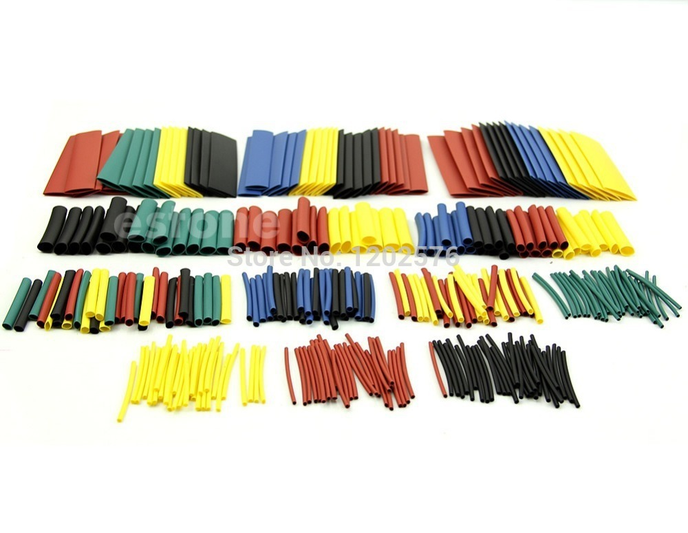 J34 free shipping 328 pcs assorted heat shrink tube 5 colors 8 sizes tubing wrap sleeve