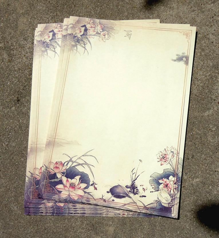 5sets/ Lot (1 Set=8pcs) Inpaper Original Color Letter Paper /Chinese Vintage Style Lotus Flower Ink Painting Ancient Retro