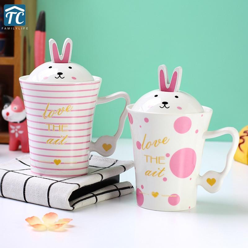 Pink Rabbit Ceramic Coffee Mug Creative Cup Breakfast Milk ...
