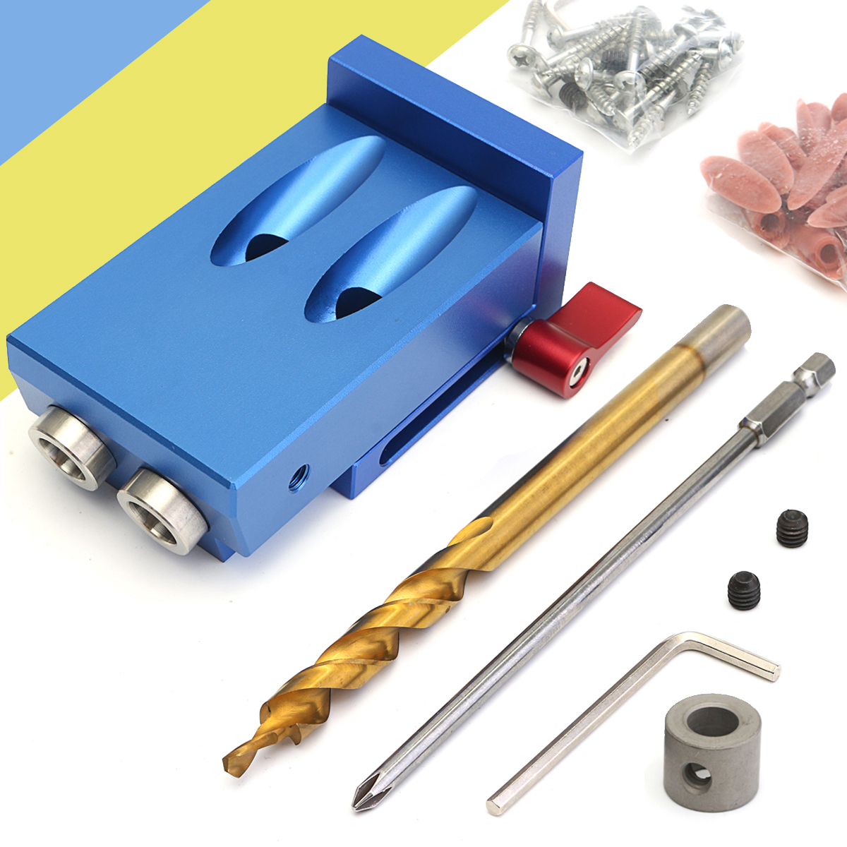 цена на Pocket Hole Jig Kit With Step Drill Bit Woodworking Cutter Tool 9.5mm Step Drill Bit Stop Collar Manual Wood Drilling Hole Saw