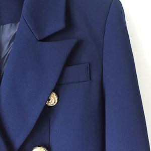 Image 4 - Yüksek kalite yeni moda 2020 tasarımcı Blazer ceket kadın Metal aslan düğmeler çift Breasted Blazer dış ceket boyutu S XXXL