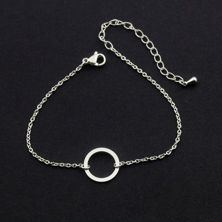 Vintage Round Circle Armband För Kvinnor Stainless Steel Geometric - Märkessmycken - Foto 3
