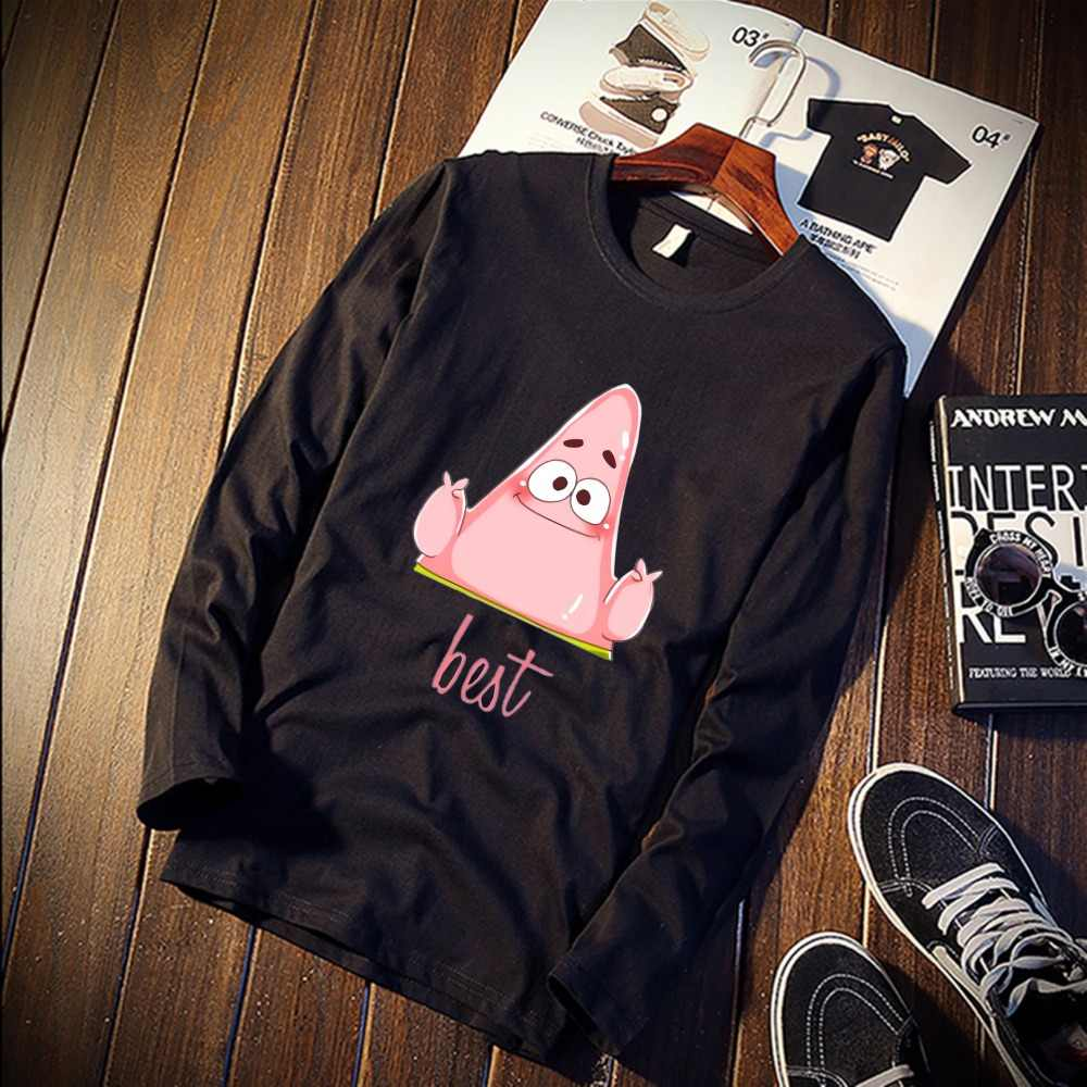ecf04e9fc ... Couple Pure Cotton TShirt SpongeBob And Patrick Star Printed Long  Sleeve Fashion Tops & Tees Brand ...