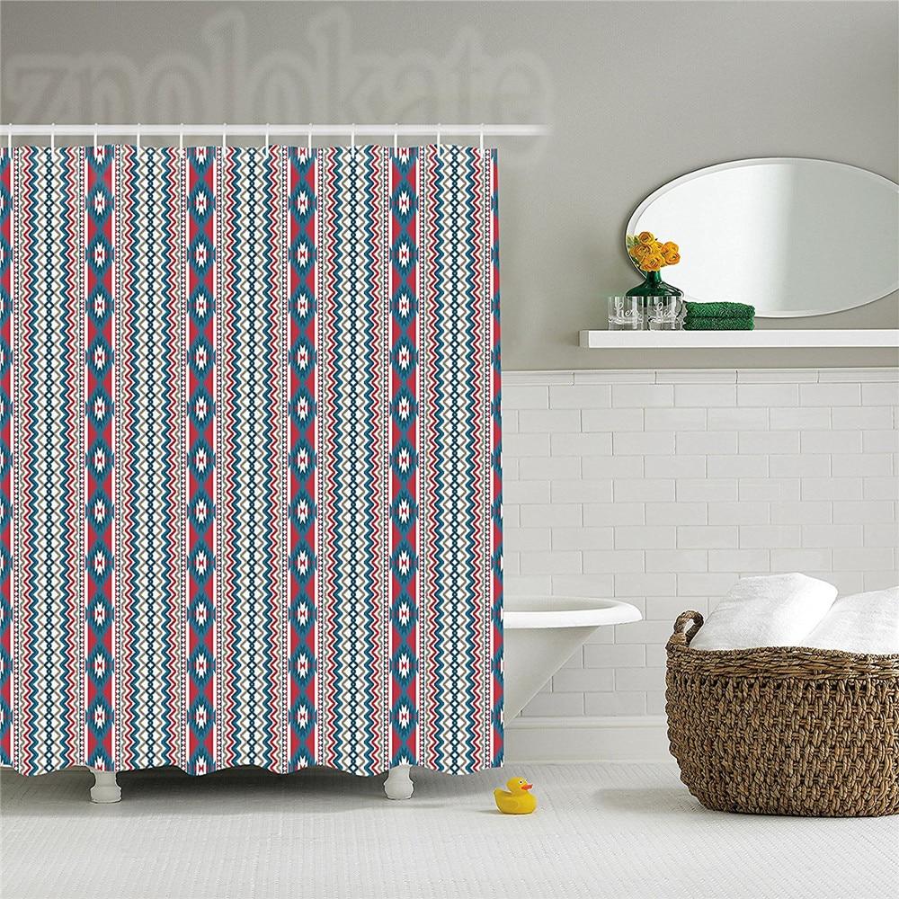 Native American Shower Curtain Ethnic Seamless Ikat Style Pattern Chevron Zig Zag Lines Bathroom Decor Set With Hooks Blue Pale