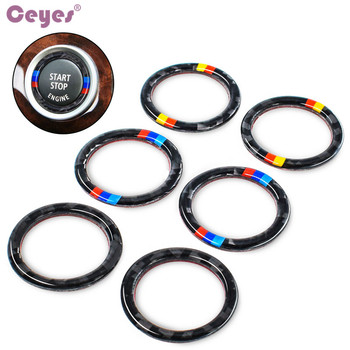Ceyes Car Styling Auto Engine Start Stop Case For Bmw E90 E92 E93 3 Series For M German Flag Logo Car Circle Stripe Car-Styling image