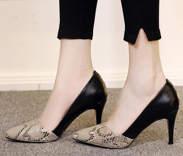 2017 Patrón de piel de Serpiente más el tamaño 33 40 sexy dedo del pie  acentuado moda thin tacones altos de las mujeres bombea zapatos de las  señoras mujer ... 19a2460754fc