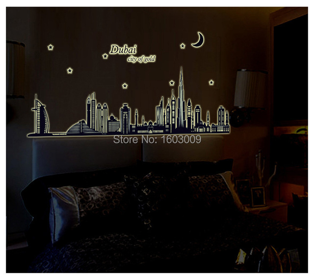 2016 top selling removable dubai city wall decal diy wall stickers