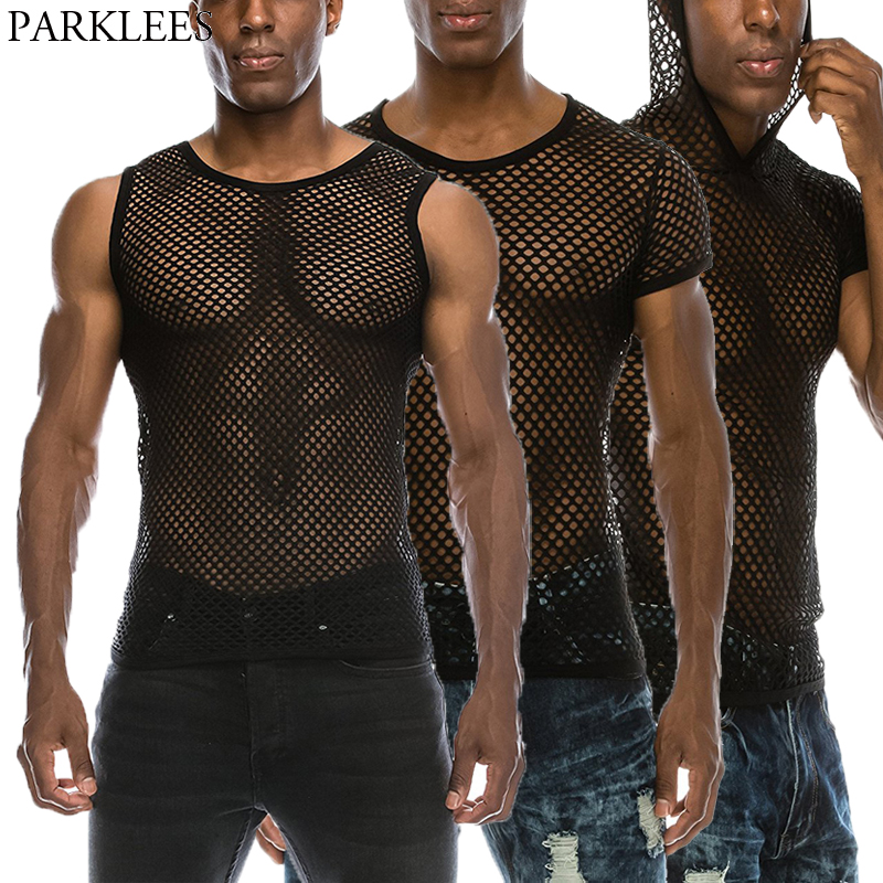 Mens See Through Black Mesh Fishnet Tanks Top 2018 New Sexy Perspective Sleeveless Fitted Muscle Top Male Bodybuilding Top Tees