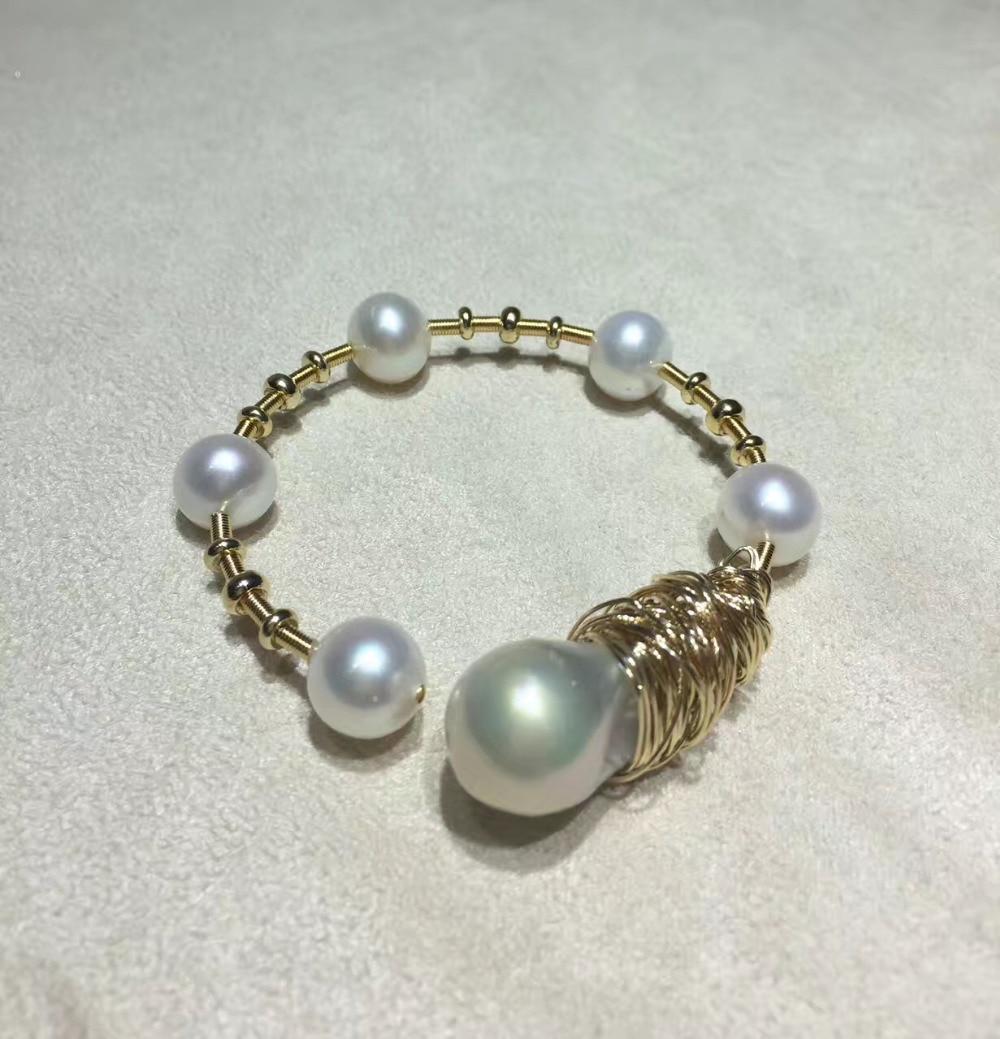 ANI 14 K Rouleau Jaune Or Perle Bracelet Naturel Baroque En Forme de Perle Bijoux De Mode D'eau Douce Blanc Perle Bracelet pour les Femmes