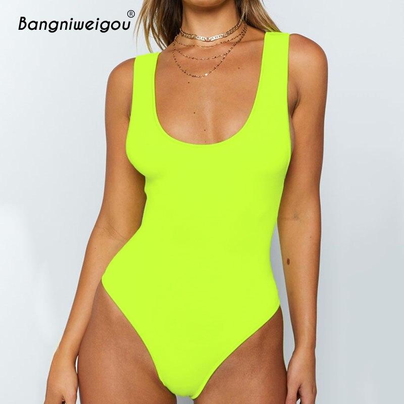 Bangniweigou U Neck V Back Sleeveless Tank Bodysuit Women Neon Green Summer Short Romper   Jumpsuits   Beach Overalls