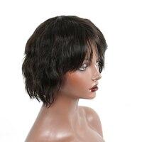 ショート人毛ボブかつらブラジルレミー波状100%人毛かつらフルヘッド6インチキャラ
