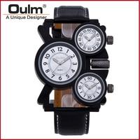 Oulm мужская кварцевые часы часы военные приключения multi функция 3-movt черная кожа часы спорт бизнес часы