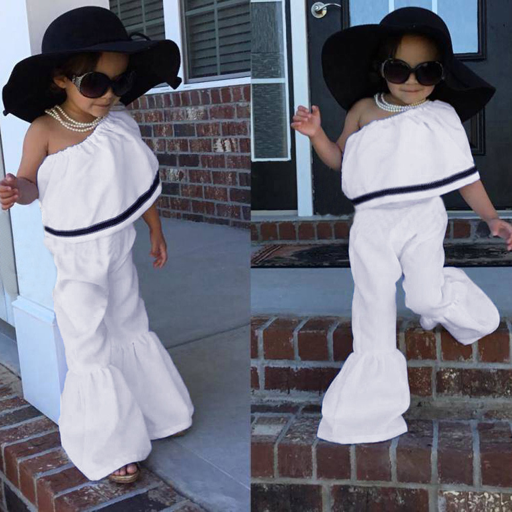 2018 New Arrival Toddle Baby Girls Sleeveless Sloping Shoulder Ruffles Tops+Pants Clothes Outfits Dropshipping