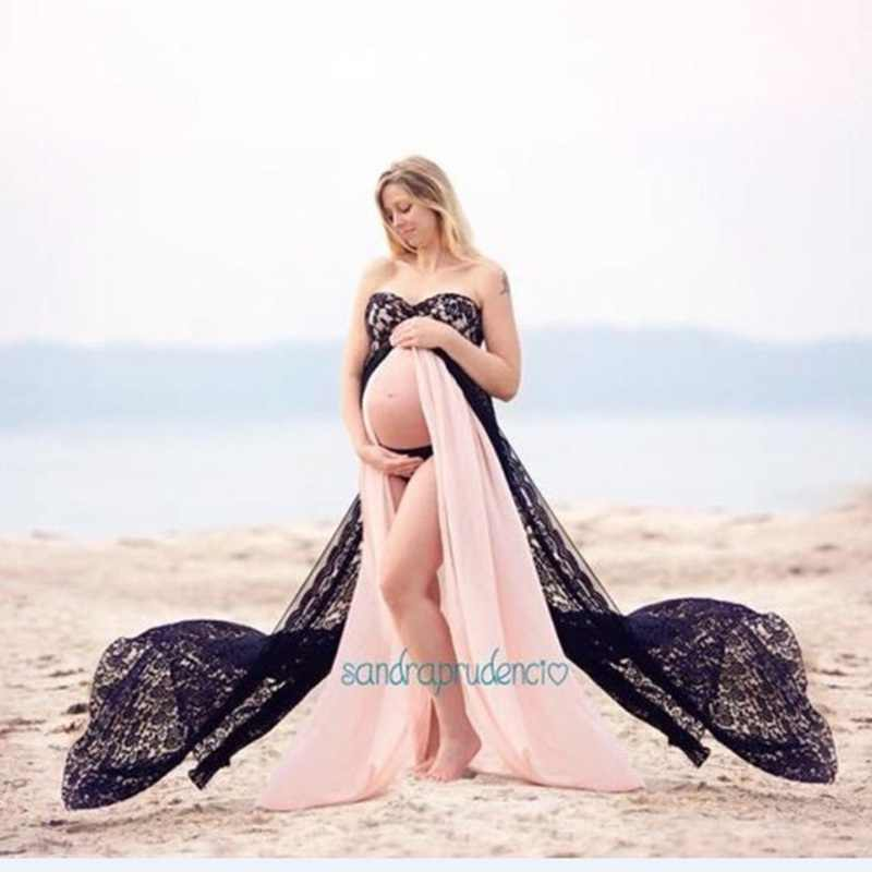 Maternity Photography Props Fancy Maternity two-color Dresses Pregnant Clothes Maxi Lace Chiffon Dress Photo Session Dress