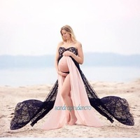Maternity Photography Props Fancy Maternity two color Dresses Pregnant Clothes Maxi Lace Chiffon Dress Photo Session Dress