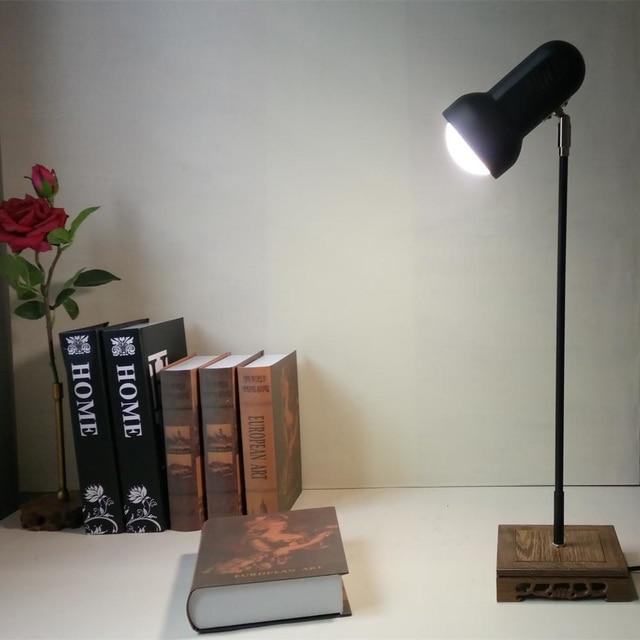 Led Tafellamp Lezen Nachtlampje Vintage/Antieke houten basis voor ...