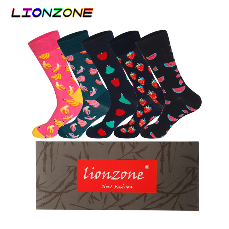 Lionzone 5Pairs Neutral Lot Socks Funny Men&WomenHit Color Personality Lovers Street Tide Casual Men Cotton Cartoon Happy Socks