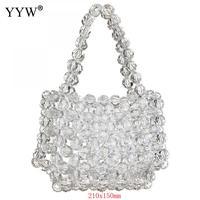 Transparent Kristall Glas Perle Taschen Frauen Handgemachte Handtasche Bling Hohl Klar Top Griff Hand Taschen Sommer Strand Tasche|Taschen mit Griff oben|   -
